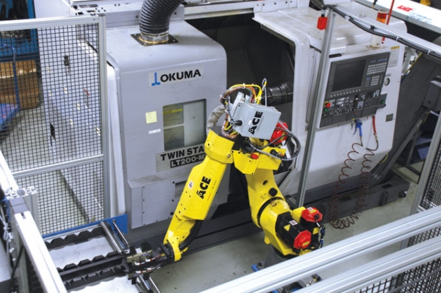 In addition to the investments in mill-turn equipment, H&O Cylindrical has also automated some of its machine tools with robotics, as in this example. Image: H&O Cylindrical
