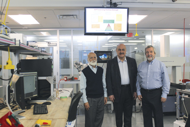 From left:  Ishwar Singh, Mo Elbestawi, the primary force in getting the Learning Factory established, and Dan Centa.