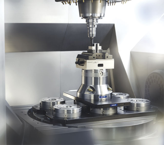 A wide array of zero-point components are available for virtually all machine tools and workpiece configurations. IMAGE: SCHUNK