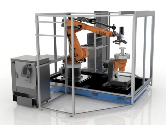 Robotic-operated 3D printing cells like this one may soon be common in the aerospace and automotive industries.  Courtesy: Stratasys