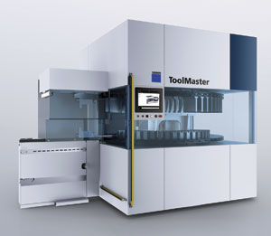TRUMPF's ToolMaster for bending machines. The classic model has a magazine wheel with 40 or 70 toolholders with a swivel arm that brings tools into position. Tool capacity of the ToolMaster Linear can be expanded up to 90 tool cartridges.