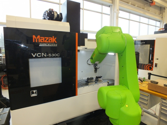 The Fanuc CR35 collaborative robot in action on a Mazak VMC