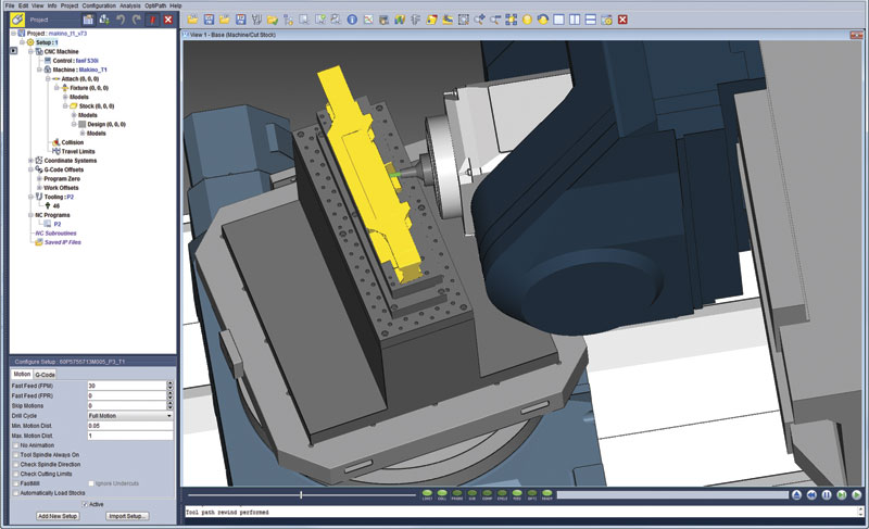 The Collision Safeguard option from Makino can read in tools, workpiece and fixture directly from CGTech's Vericut project files. The image depicts a Makino 5 axis milling machine in Vericut version 7.3.