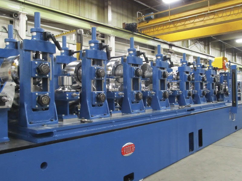 A high strength steel forming mill from Yoder. Note the progressive forming stations. Image: Formtek Group.
