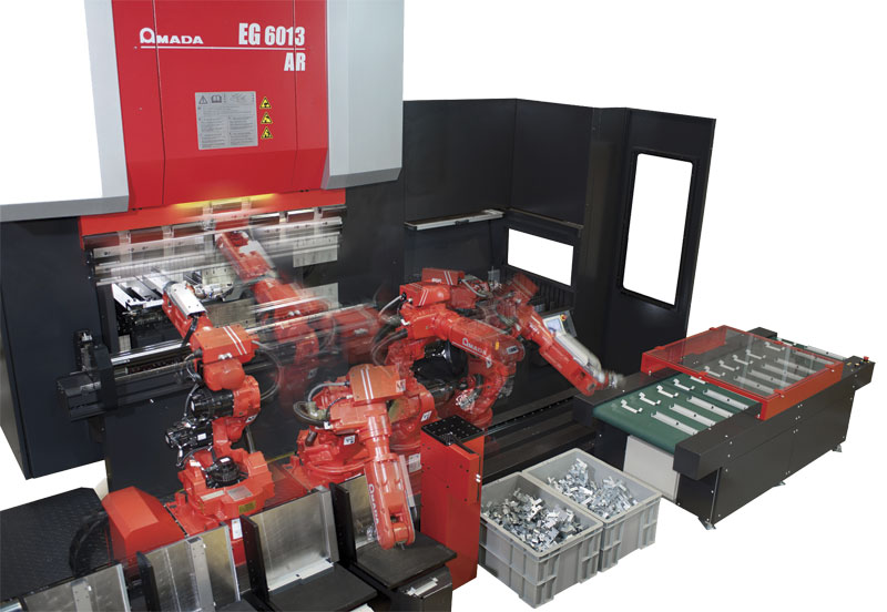 Amada's EG 6013 AR is an automated robotic bending system that combines the EG series press brakes, a bending robot and a high capacity automatic tool changer and hand changer. Automated press brakes handle a wider range of materials than panel benders.