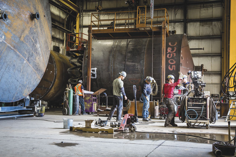Inside one of of the facilities where the company fabricates and welds some of the tanks.