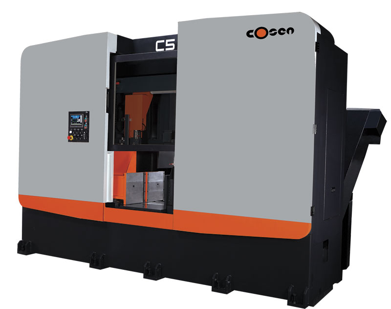 One of Cosen's newest bandsaws, the C5 with a blade speed of 20 to 100 m/min (66 to 330 ft/min).