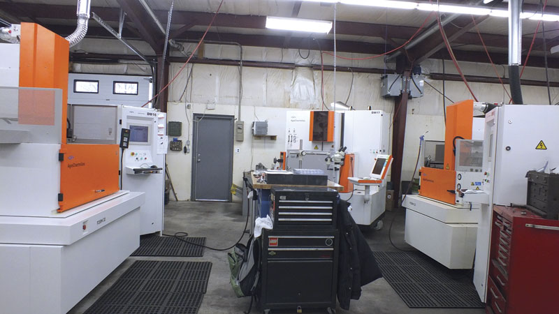 The EDM department in D-M Precision Products' facility consists of three GF Machining Solutions AgieCharmilles EDMs.