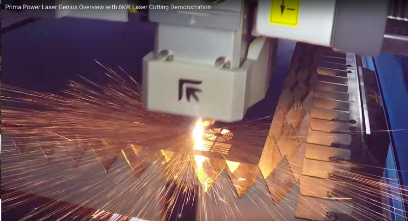 Fabricating Prima Power 6 kW fiber laser cutting in action