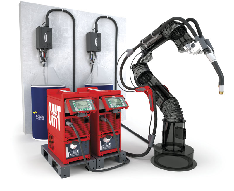 The Fronius CMT (Cold Metal Transfer) tandem welding process used in the high speed robotic classing system. Inset: Illustration of the dual wire/arc system.