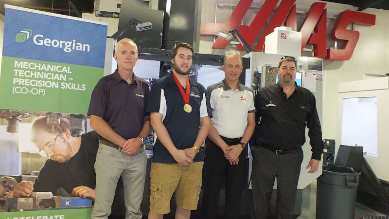 From left: Juergen Hierholzer, Georgian College, Jonathan Adair, Skills Canada Competition winner for CNC machining, Dan Ferko, president of Sirco Machinery/Haas Factory Outlet, and Louis Dropka, Skills Ontario CNC Machining competition and teacher at Conestoga College
