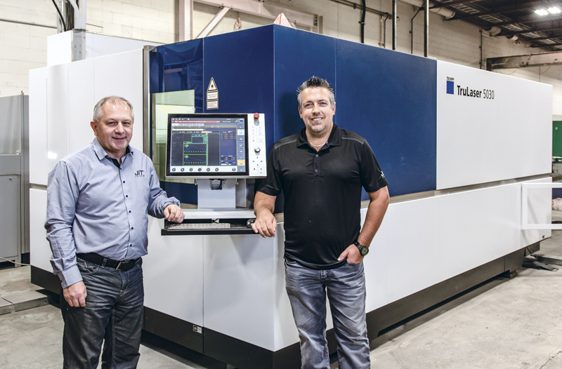 JIT Laser co-owners Réne Marcoux, left, and Gaby Piché, right, are happy with the performance of their TRUMPF TruLaser 5030 8 kW fiber laser cutting system.