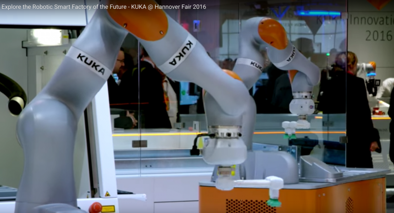 KUKA robotic smart factory display at Hannover Fair 2016
