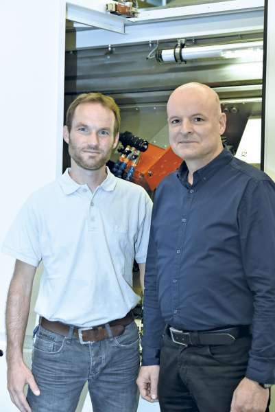 Mathias Gerber, left, and Frank Fiebelkorn from Swiss Fritz Studer AG, a United Grinding Group.