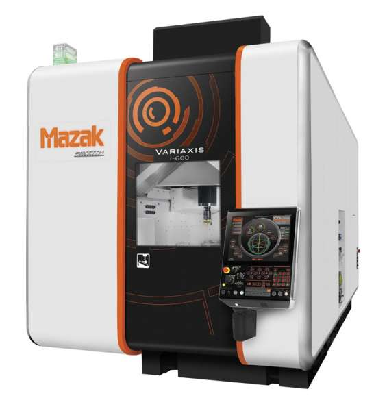 The Variaxis i600 VMC from Mazak used to machine a titanium guitar. Mazak was able to demonstrate improvement in non-cutting times.