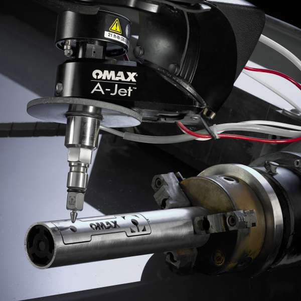 OMAX's rotary axis head for enhanced 3D waterjet cutting