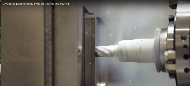 Okuma and 5ME demonstrate cryogenic machining on an Okuma HMC