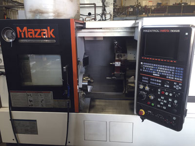 The Mazak Quick Turn Nexus 250 turning centre at Rector's machine shop.
