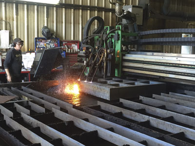 The Hypertherm plasma cutting system in action at Rector's shop.