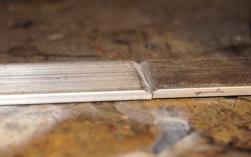 A beveled and cleaned joint in aluminum bar stock ready for welding.  Image: Nestor Gula.
