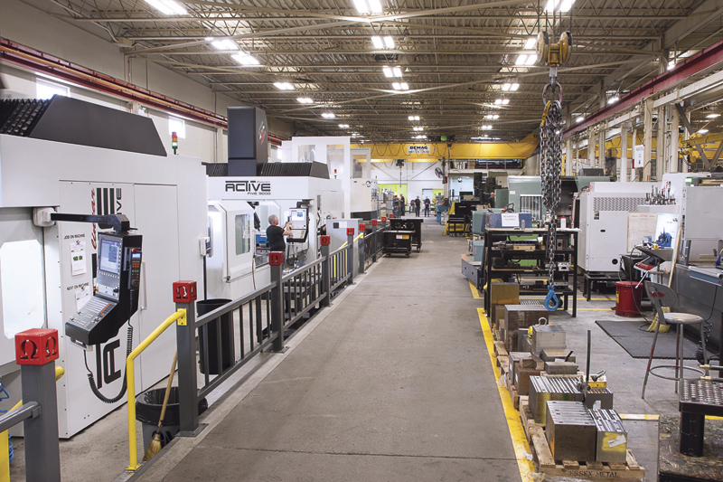 The part machining bay at Omega's facility. The shop produces plastic injection, compression, R.I.M and die cast moulds primarily for the automotive industry.