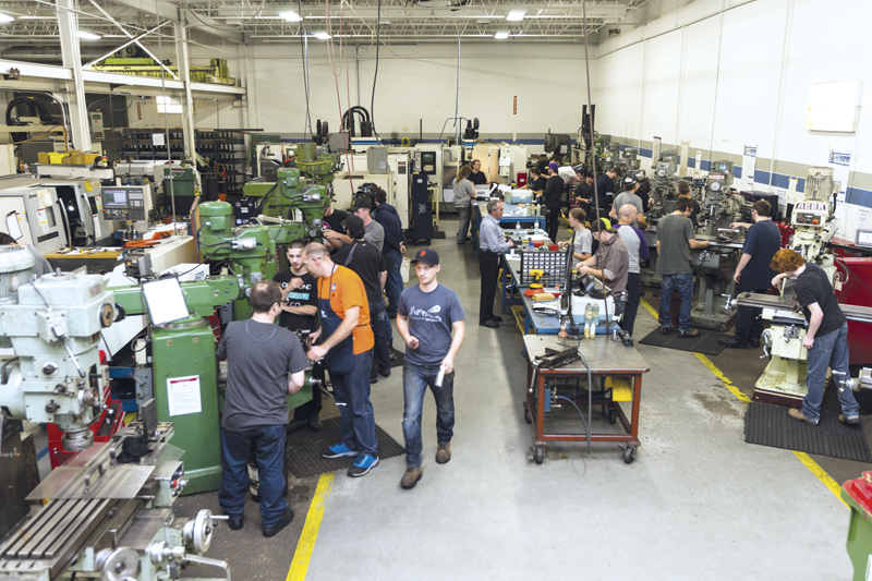 An overview of the machine shop at the Valiant Training and Development Centre.