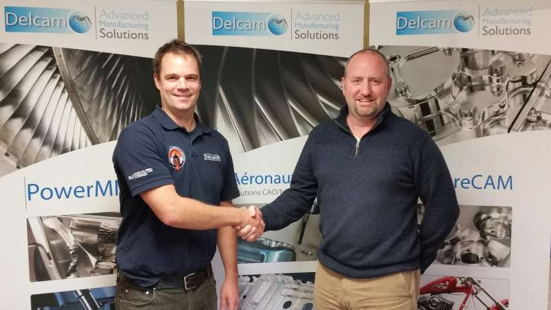 Mark Cadogan, right, welcomes Frederic Nadeau to the Delcam family