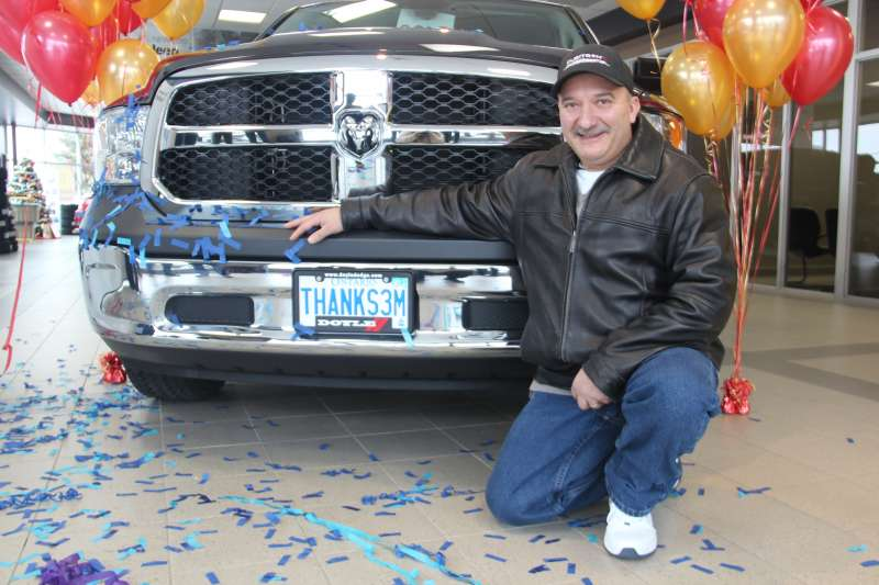 Ron Proulx, 3M Cubitron winner of a RAM pickup. Image: Heidi Ulrichsen, Northern Life