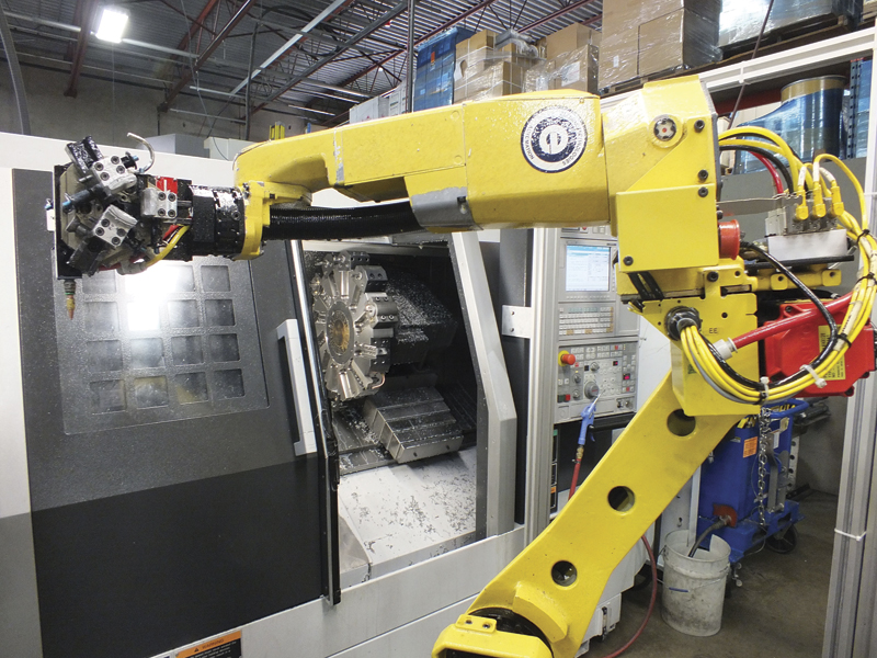 The machining cell includes two DMG MORI machines and a Fanuc robot.