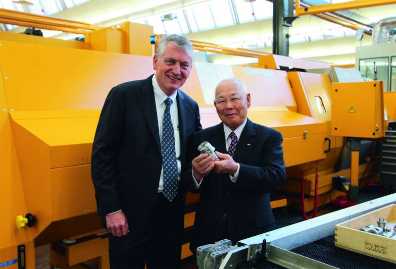 R. Kitaguchi, chairman of BIG Daishowa Seiki Co. Ltd., right, and Chris Kaiser, chairman of Kaiser Precision Tooling Ltd.