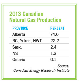 2013 Canadian natural gas production